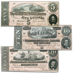 3-Note Set of Historic 1864 Confederacy Notes
