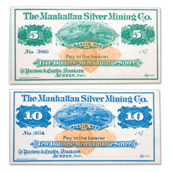 1870s $5 & $10 Manhattan Silver Mining Co. Scrip Set