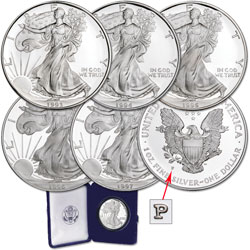 "1993-1997 ""P"" Mint Silver American Eagles"
