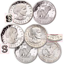 1979-1981 3 Varieties Susan B. Anthony Dollar Set