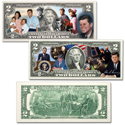 Colorized John F. Kennedy $2 Federal Reserve Note Set