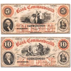 1858-1861 Bank of the Commonwealth - Richmond, Virginia Notes