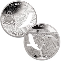 2020 Barbados Silver $5 Shapes of America - Bald Eagle