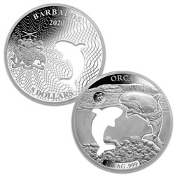 2020 Barbados Silver $5 Shapes of America - Orca