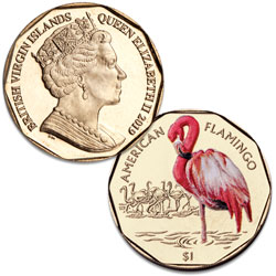 2019 British Virgin Islands Virenium $1 Flamingo