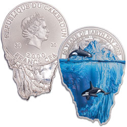 2020 Cameroon 1 oz. Silver 2000 Francs CFA Earth Day Iceberg