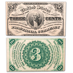 1864-1869 U.S. 3¢ Fractional Note, Light Background