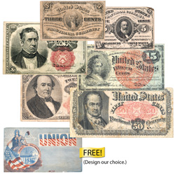1862-1876 Complete Fractional Currency Denomination Set with FREE Civil War Cover