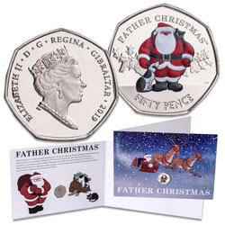 2019 Gibraltar Colorized 50 Pence in Christmas Card