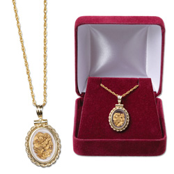 Small Oval Bezel Gold Flakes Necklace