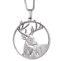 White-tailed Deer Cut Coin Necklace