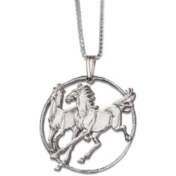 Horses Cut Coin Necklace