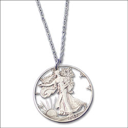 Liberty Walking Half Dollar Cut Coin Necklace