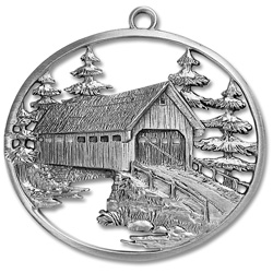 Covered Bridge Pewter Ornament