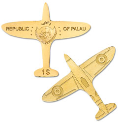 Palau Gold $1 Airplane