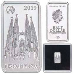 2019 Solomon Islands Silver 50 Cents Famous Landmarks - Barcelona, Spain