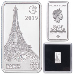 2019 Solomon Islands Silver 50 Cents Famous Landmarks - Paris, France