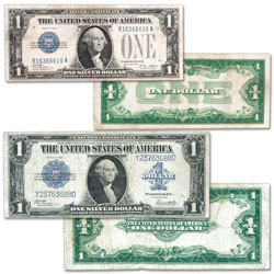 Last Large-Size and First Small-Size $1 Silver Certificate Set