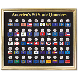 50 State Framed Flag Display for Quarters