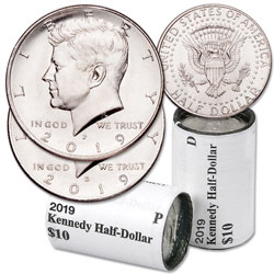 2019 P&D Kennedy Half Dollar Rolls