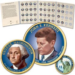 2007-2016 Complete Colorized Presidential Dollar Set with Folder