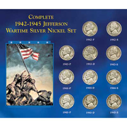 1942P-1945S Complete Wartime Silver Nickel Set