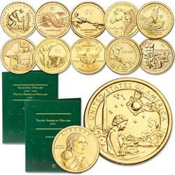 2009-2019 P&D Native American Dollar Set with Folder