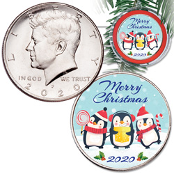 2020 Colorized Kennedy Half Dollar Merry Christmas Ornament