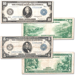 1914 $5 & $10 Federal Reserve Note Set