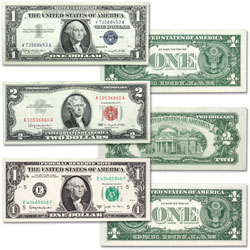 1957-1963 U.S. Paper Money Seal Set (3 colors)