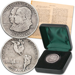 1923-S Monroe Doctrine Silver Commemorative with FREE Replica Document