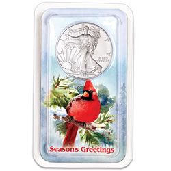 2019 Silver American Eagle in Season's Greetings Showpak