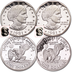 1981-S Susan B. Anthony Clear & Filled S Set