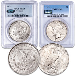 1921 Morgan & 1922 Peace Dollar Set