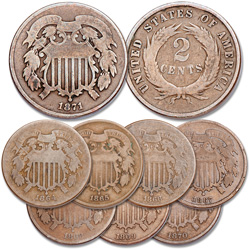 1864-1871 Two Cent Piece Set