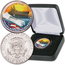 Colorized Pearl Harbor Kennedy Half Dollar