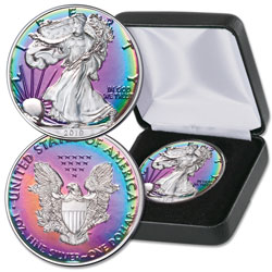 2019 Rainbow Toned $1 Silver American Eagle with Case
