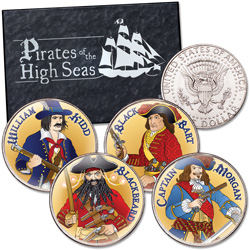 Colorized Pirates of the High Seas Kennedy Half Dollar Set
