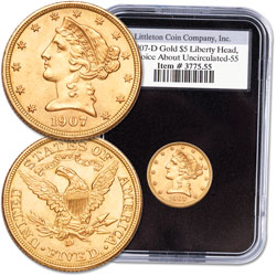 1907-D $5 Gold Liberty Head Gold Piece