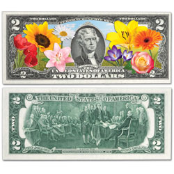 Colorized $2 Federal Reserve Note - Popular Flowers