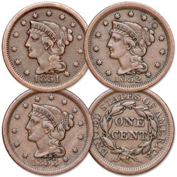 1851-1853 Consecutive Braided Hair Large Cent Set