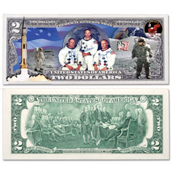 Colorized $2 Federal Reserve Note - Apollo 11