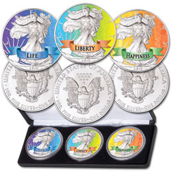 2019 Colorized Silver Eagle Dollars - Life, Liberty and Happiness