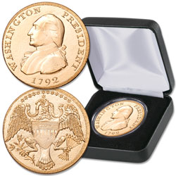 Gold-Plated 1792 George Washington President Gold Eagle Replica in Display Case