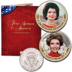 Colorized First Spouses Collection with Folder - Nancy Reagan & Jacqueline Kennedy