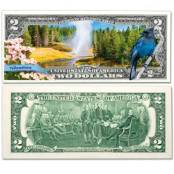 Colorized $2 Federal Reserve Note Great American Landscapes - Yellowstone