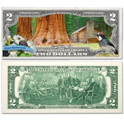 Colorized $2 Federal Reserve Note Great American Landscapes - Giant Redwoods