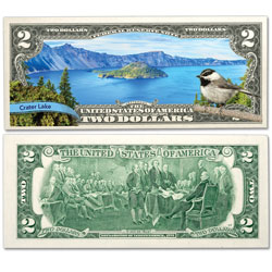 Colorized $2 Federal Reserve Note Great American Landscapes - Crater Lake