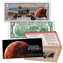 Colorized $2 Federal Reserve Note - Mission to Mars