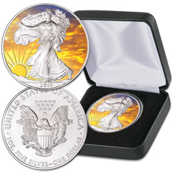 2019 Colorized & Gold-Plated Dawn's Early Light Silver American Eagle